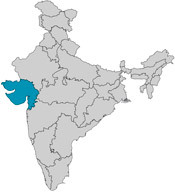Map showing the state of Gujarat on the west coast of India.