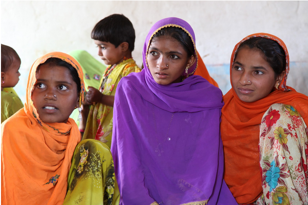 Adolescent girls during an educational event.