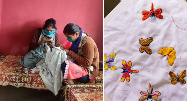 Women skilled in crafting create attractive, embroidered designs for clothing.